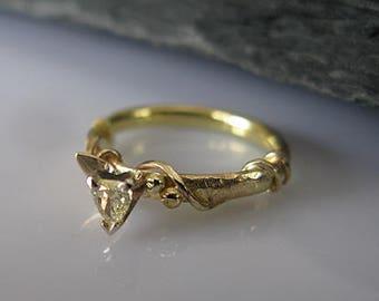 VS Diamond Twig Ring 14k Gold Ring Twig Wedding Band Diamond Twig Pear Diamond Wedding Band Size 5 1/2 Unique Engagement Ring Hot Rox Ring