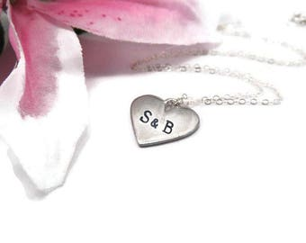Hand Stamped Heart Initial Necklace - Couples Initial Necklace - Sterling Silver Stamped Heart Necklace - Couples Heart Necklace