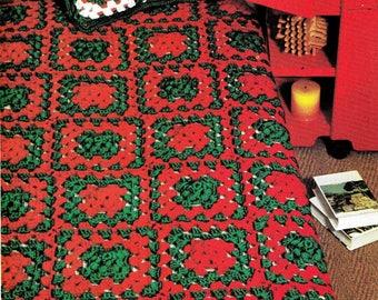Vintage Crochet Digital Pattern -Christmas Afghan - Throw Blanket - Granny Squares Afghan  PDF Instant Download - Xmas Lap Bedspread Blanket