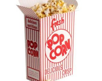 POPCORN BOX | Red Popcorn Boxes | Striped Retro Vintage Popcorn Boxes | Circus Carnival Birthday Party | Zoo Party | Baseball Birthday Party