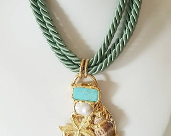 Turquoise necklace, baroque pearls, shells, starfish