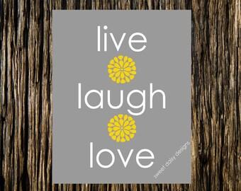 Live Laugh Love Print, 8x10 Wall Art