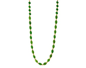 Green Jade and Gold Necklace/ Green Nephrite Jade Necklace/ Genuine Jade Jewelry/ Jade Beaded Necklace