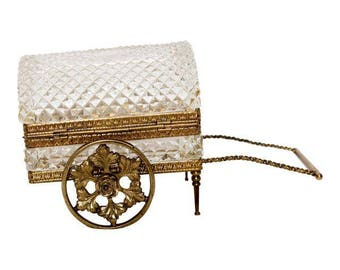Rare German Antique Crystal and Bronze Jewelry Casket Carriage