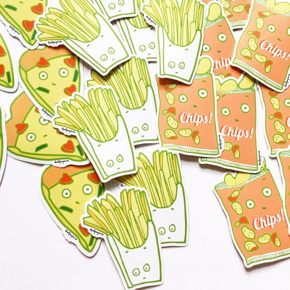 Junk Foods Sticker Pack with French Fries, Bag of Chips, and Pizza