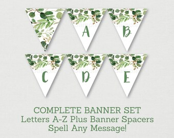 Rustic Green Floral Baby Shower Banner / Floral Baby Shower / Watercolor Floral / Letters A-Z / Printable INSTANT DOWNLOAD A178