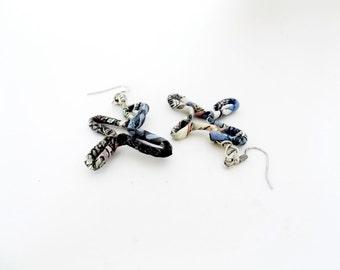 Paper earrings, wire wrapped earrings, wire earrings, wire jewelry, paper jewelry, recycled paper earring, statement earring, eco jewelry