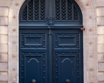Paris Photograph - Navy Blue Door, Parisian Travel Fine Art Photograph, Home Decor, Wall Art