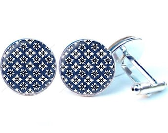 Glass - floral design cabochon cufflinks