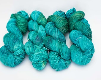 "Hand Dyed Sock Yarn, Variegated Turquoise and Green, Superwash Merino Wool, Cashmere, and Nylon, Color ""Mermaid Scales"""