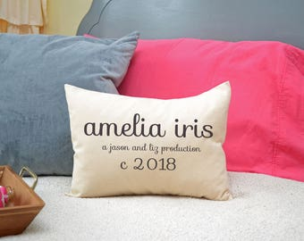 Personalized Baby girl pillow, baby shower gift, personalized pillow for baby, newborn gift, photography prop, parents names and circa