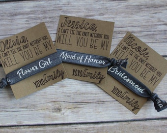 Personalized Hair Tie Bridal Proposal, Will You Be My Bridesmaid Proposal, Will You Help Me Tie The Knot, Maid of Honor,Bridal Party, FOE