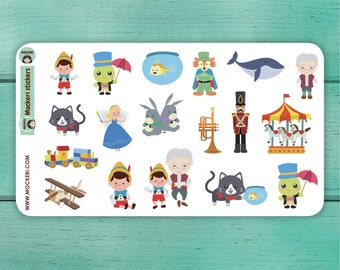 18 Pinocchio Stickers / Planner Stickers / Decorative Stickers