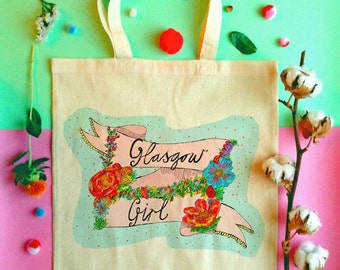 GLASGOW GIRL Tote Bag, Scottish Slang Phrase Illustrated Tote, Floral Quirky Typography Cotton Shopper