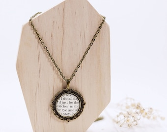 The Catcher in the Rye reclaimed book page necklace.