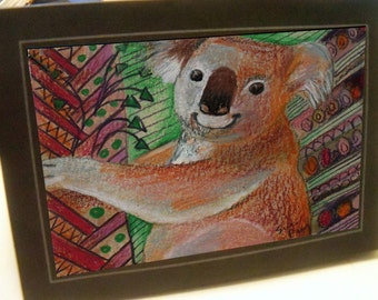 greeting card red koala bear zentangle blank card