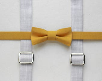 Mustard yellow toddler bow tie and suspenders boys bow tie gray boys suspenders chambray baby suspenders toddler suspenders and bow tie