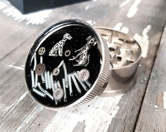 Dogs Lovers Herb Grinder - Metal Tobacco Spice Grinders for Weed Gifts Dog Gift for owners Stoner Girls Girly Grinder Steampunk Metal
