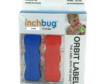 Personalized Labels for baby bottles and sippy cups by InchBug  Lion/Monkey and Plane/Bus (Chili Pepper Red and Sailor Blue 2-PACK)