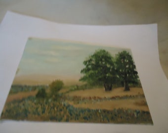 "Vintage Painting Of Trees On Plyex Canvas Foundation Board, 5"" x 7"", collectable"