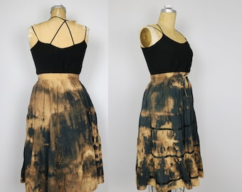 Altered witchy panel skirt, bleached to a cosmic array of black, rust, burnt yellow, navy, for festival, hippie, artsy vibes, one size fit