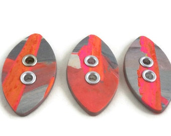 Large orange and gray sewing buttons with grommets beautiful focal for knitter