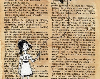 illustration on French/English Dictionary Page - Girl walking pet Bat, Pen and paint,  edward gorey, print 5x7