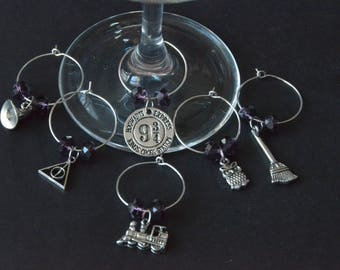 HARRY POTTER INSPIRED Wine Charms #1 ~ Set of 6  - Choice of Bead Color