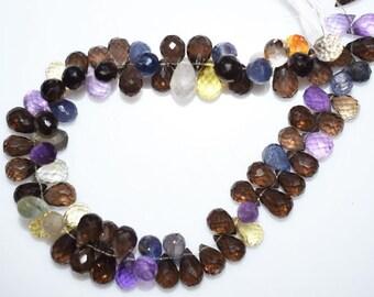 "Natural Multi Semiprecious Tear Drop Faceted Beads - Multi Semiprecious Briolette , 8.5x5.5 - 11.5x6.5 mm ,  9"" , BL1275"