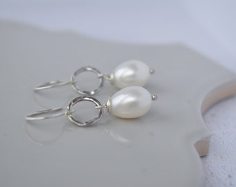 Pearl Drop Earrings - White Pearl Earrings, Pearl Dangle Earrings, Pearl Jewelry, Real Pearl Earrings, Hammered Sterling Silver Earrings