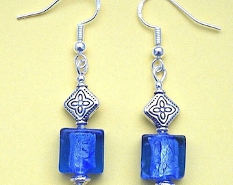 Blue Indian Glass Earrings with Sterling Silver Hooks New Drops LB17