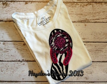 Girl's Flip Flop T-shirt with Frayed Flower Accent