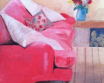 Pink Velvet, pink painting, 8 x 8, oil