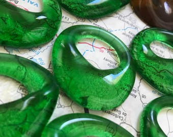 Eight Recycled Glass Bottle Beads - Upcycled Recycled Repurposed Jameson and Beer, OOAK