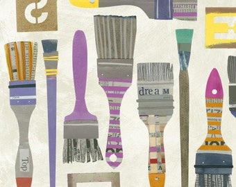 American cotton fabric Paint - Windham Fabrics designer Carrie Bloomston - brushes on white or blue grey - 50 cm (110 x)