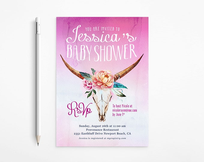 Printable Boho Baby Shower Invitation - Girl - Country - Western - Ombré - Watercolor - Feathers - Flowers - Light Pink