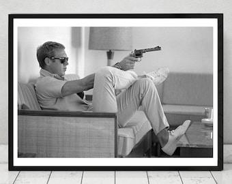 Steve McQueen Sofa & Gun, Home Decor, prints , iconic Actor, Vintage Photography,