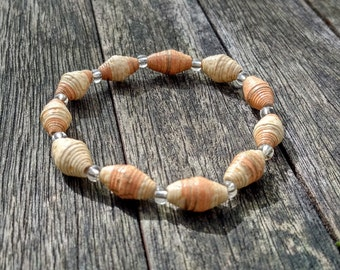 Handmade bracelet with orange - cream recycled paper and silver glass beads