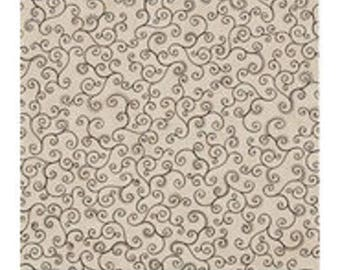 Patchwork fabric beige color with thin black swirls, 100% REF 23/135 pattern cotton