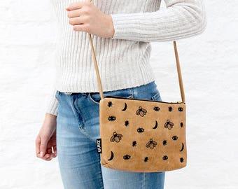 Midnight Leather Embroidered Shoulder Bag - Sling Bag - Cross body bag - clutch bag - purse