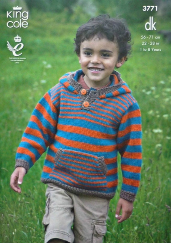 Boys Knitting Pattern K3771 Childrens Long Sleeve Striped Hooded