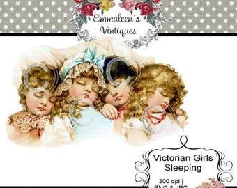 Vintage Shabby 3 Victorian Girls Sleeping Napping Digital Download — Printable Ephemera
