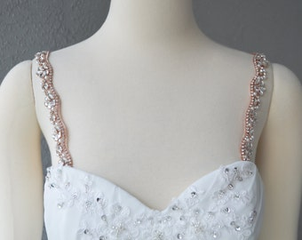 Detachable Rose Gold Rhinestone Crystal and Pearl Straps to Add to your Wedding Dress