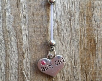 Baby Girl Pregnancy Belly Button Ring, Bioflex 14 Gauge, Maternity Jewelry, Navel Piercing.