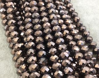 """8mm x 10mm Metallic AB Finish Faceted Opaque Dark Brown Chinese Crystal Rondelle Beads - Sold by 17"""" Strands (Approx 57 Beads) - (CC810-110)"""