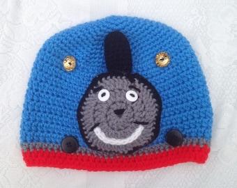 Thomas the Train Hat -  crochet Kids Thomas Hat Baby Newborn Toddler Adult