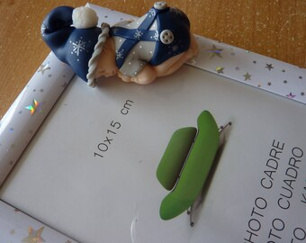 """To order! Baby blue and silver polymer """"Merlin"""" frame or boot Christmas"""
