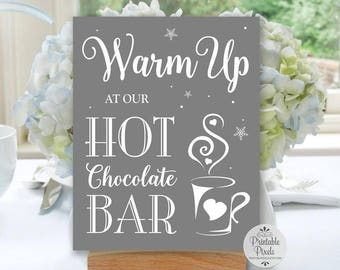 Grey Printable Hot Chocolate Bar Sign, Wedding Sign, Hot Cocoa Bar (#HC11Y)