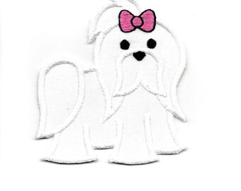 Maltese Puppy Patch, any Color! Custom Made!