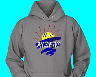 He is Risen! Awesome Easter Celebration Hoodie Sunrise Service Hoodie Matthew 28:6 Hoodie He Is Not Here Hoodie Christ has Risen Hoodie Hark